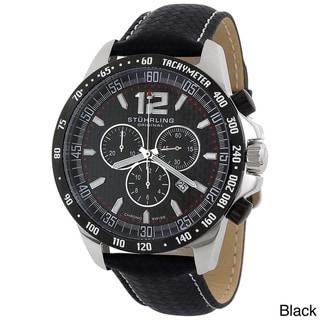Stuhrling Original Men's 'Concorso' Black or Brown Leather Strap Chronograph Watch