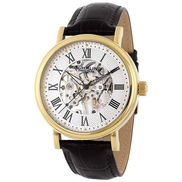 Stuhrling Original Men's 'Montague' Skeleton Mechanical Hand-Wind Leather-Strap Watch