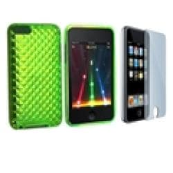 INSTEN Green TPU iPod Case Cover and Screen Guard for iPod Touch Gen 2/ 3 - Thumbnail 1