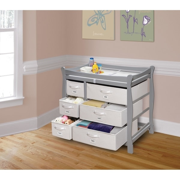 Sleigh Style Baby Changing Table with Six Baskets. Opens flyout.