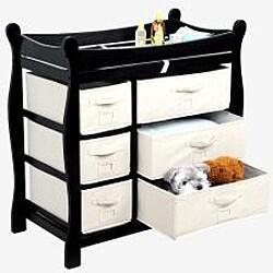 Badger Basket Black 6-basket Baby Changing Table - Thumbnail 1