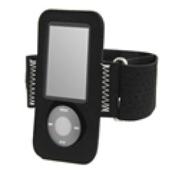 eForCity Black Suede Durable On-the-go Armband for iPod Gen5 Nano - Thumbnail 1