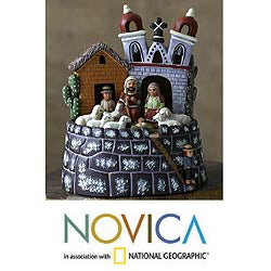 Handmade Ceramic 'Bell Tower Christmas' Nativity Scene (Peru)