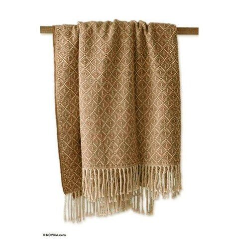 Wool Blend 'Andean Honeycomb' Throw Blanket (Peru)