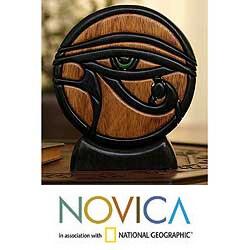 Ishpingo Wood 'Eye of Horus' Sculpture (Peru)
