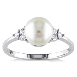 Miadora 10k White Gold Cultured Freshwater Pearl and 1/8ct TDW Diamond Ring (7.5-8 mm) (More options available)