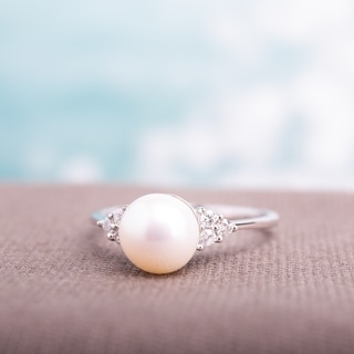 10k White Gold 7.5-8mm White Freshwater Cultured Pearl and 1/8ct TDW Diamond Ring by Miadora