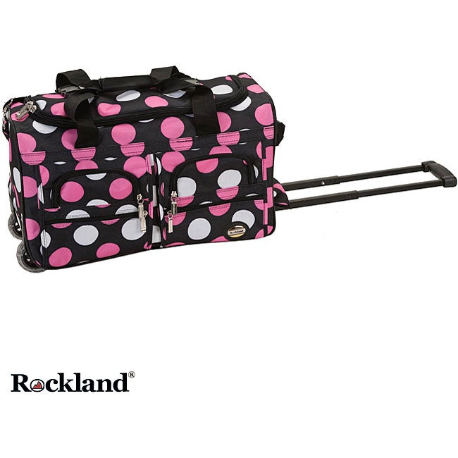 Rockland New Multi Pink Dot 22-inch Carry On Rolling Upright Duffel Bag