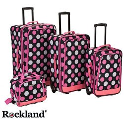 Rockland Pink Polka Dot 4-piece Expandable Luggage Set