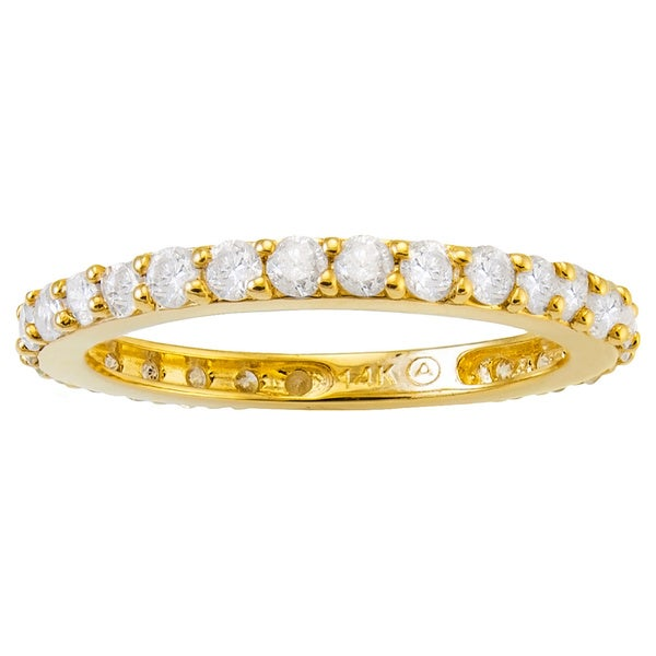 14k Yellow Gold 1ct TDW Diamond Eternity Band Ring - White H-I
