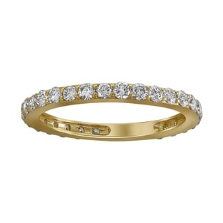 14k Yellow Gold 1ct TDW Diamond Eternity Wedding Band - White H-I