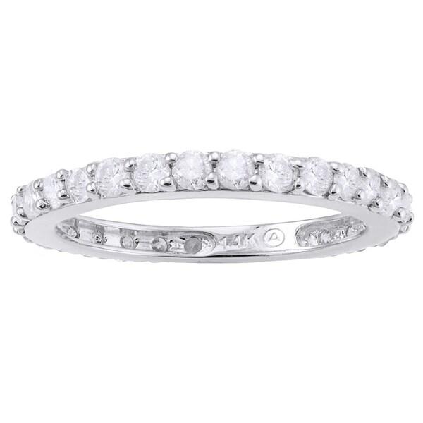 14k White Gold 1ct TDW Diamond Eternity Band Ring - White H-I