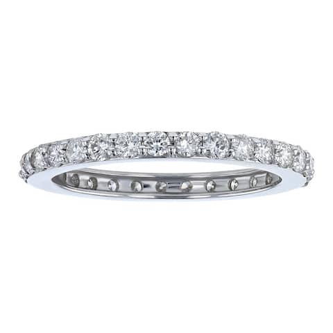 14k White Gold 1ct TDW Diamond Eternity Band Ring by Beverly Hills Charm - White H-I