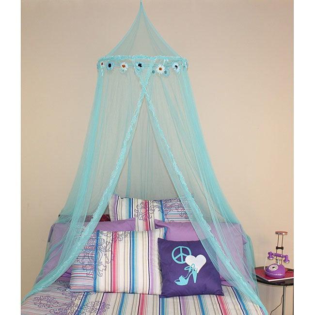 Mombasa Blue Daisy Bed Canopy (Blue Daisy Canopy), Size F...