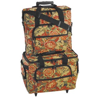 Hemline Sew Easy Burgundy Floral 2-bag Trolley/ Embroidery Set