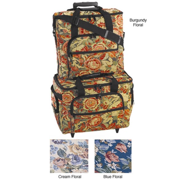 Hemline Sew Easy Blue Floral 2-bag Trolley/ Embroidery Set