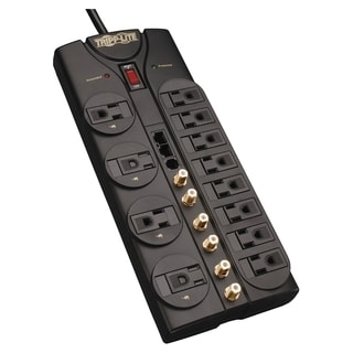 Tripp Lite Home Theater Surge Protector 12 Outlet RJ11 RJ45 Coax 10'