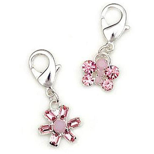 Pink Crystal 'Flower' and 'Butterfly' Pet Collar Clips (Set of 2)