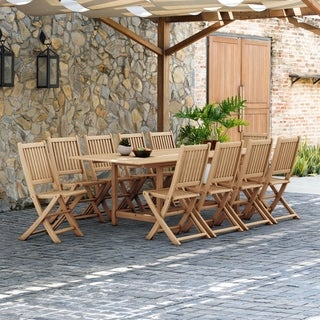 Link to Tottenville 11-piece Teak Dining Set by Havenside Home Similar Items in Patio Furniture