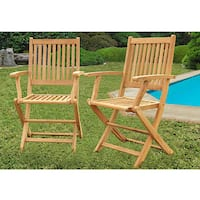 Havenside Home Tottenville Teak Dining Armchairs (Set of 2)