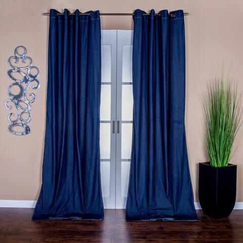 Lambrequin Capri Denim Grommet-top 96-inch Curtain Panel Pair - 54 x 96