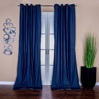 Lambrequin Capri Denim Grommet-top 96-inch Curtain Panel Pair - 54 x 96