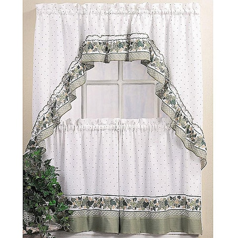 Cotton-blend 36-inch Ivy Floral Tier Curtain and Swag Set
