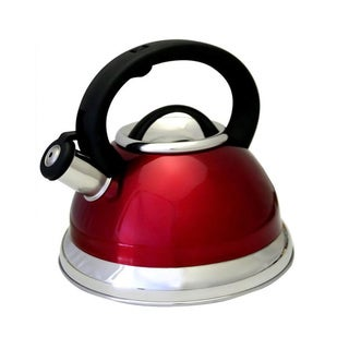 Heavy-gauge 3-quart 18/10 Stainless Steel Whistling Red Tea Kettle