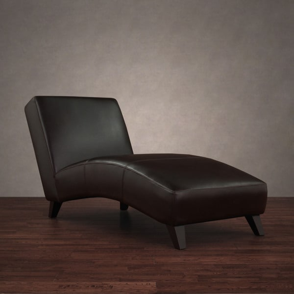 Cleo dark brown leather chaise free shipping today for Bella flora double chaise lounge