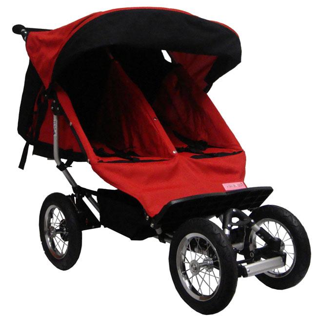 BeBeLove Double Jogging Stroller in Red