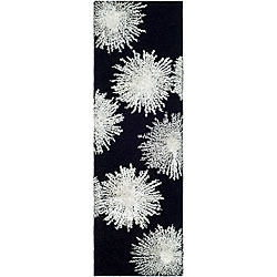 Safavieh Handmade Soho Burst Black New Zealand Wool Runner (2'6 x 8')