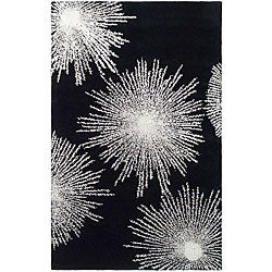 Safavieh Handmade Soho Burst Black New Zealand Wool Rug (2' x 3')