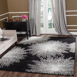 Safavieh Handmade Soho Burst Black New Zealand Wool Rug (7'6 x 9' 6)