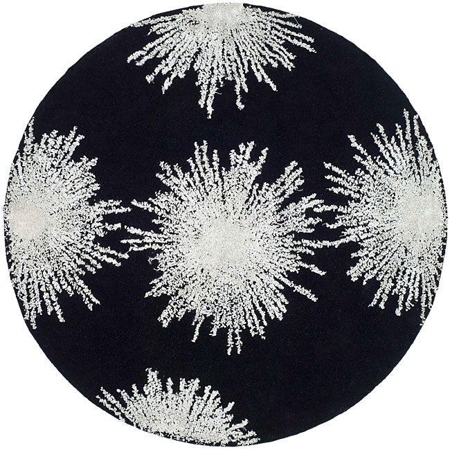 Safavieh Handmade Soho Burst Black New Zealand Wool Rug (6' Round)