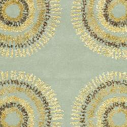 Safavieh Handmade Deco Explosions Light Blue N. Z. Wool Rug (3'6 x 5'6) - Thumbnail 2