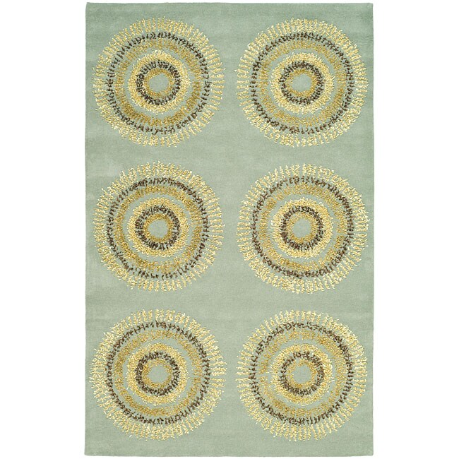 Safavieh Handmade Deco Explosions Light Blue N. Z. Wool Rug (5' x 8')