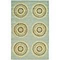 Safavieh Handmade Deco Explosions Light Blue N. Z. Wool Rug - 7'6 x 9'6