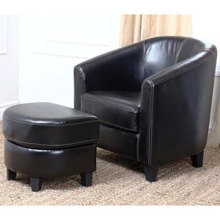 Abbyson Living Lexington Leather Armchair and Ottoman Set