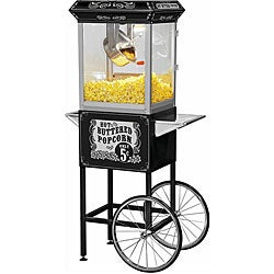 Full-size Carnival Style 8-oz Hot Oil Popcorn Machine with Cart
