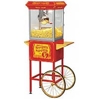 Full Size Red Carnival Style 8-oz Hot Oil Popcorn Machine with Cart