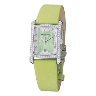 Stuhrling Original Women's Gatsby Girl Green Strap Crystal Watch