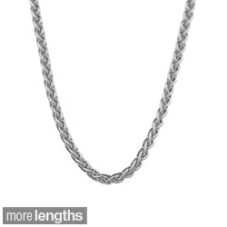 Fremada 18k White Gold Round 0.8mm Wheat Chain (18-20 inch)