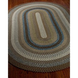 Safavieh Hand-woven Reversible Brown Braided Rug (4' x 6' Oval) - Thumbnail 1
