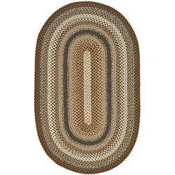 Safavieh Hand-woven Reversible Brown Braided Rug (8' x 10' Oval) - 8' x 10'
