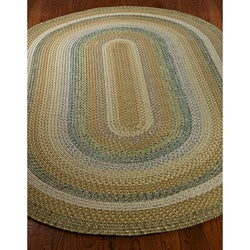 Safavieh Hand-woven Reversible Tan Braided Rug (3' x 5' Oval) - Thumbnail 1