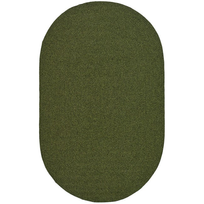 Shop Safavieh Hand Woven Reversible Green Braided Rug 3 X 5 Oval