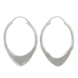 Handcrafted Sterling Silver Silver Boomerang Hoop Earrings (Thailand)