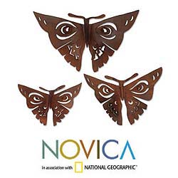 Set of 3 Iron 'Aztec Butterflies' Wall Adornments (Mexico)