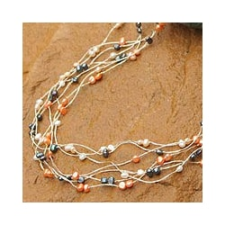 Stainless Steel 'Sweet Crocus' Pearl Necklace (Thailand)