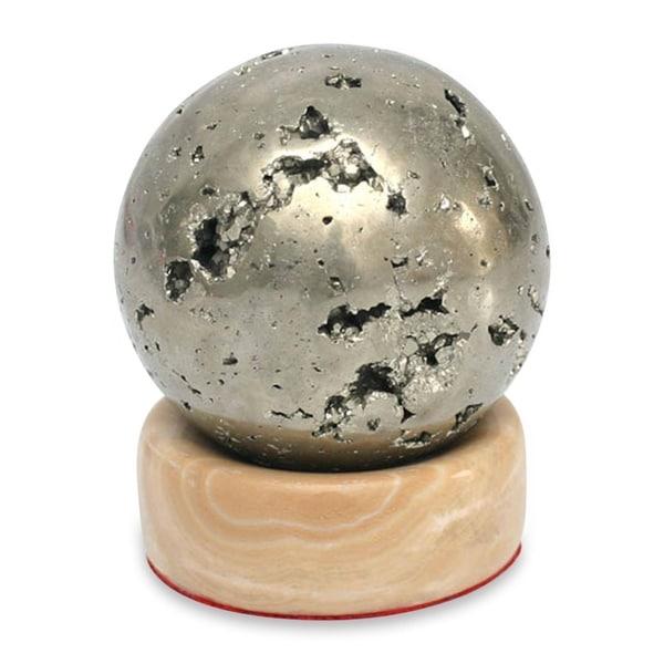 Handmade Pyrite Magic Sphere Sculpture (Peru)